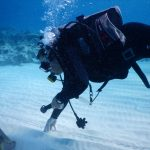 A person scuba diving near the white sandy seafloor at a location in the Bahamas.